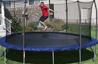 e7a52b36f1ab9 Skywalker Trampolines 15-Feet Round Trampoline and Enclosure with Spring Pad