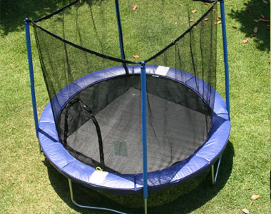 AirZone Outdoor Spring Trampoline with Mesh Padded Perimeter Safety Enclosure
