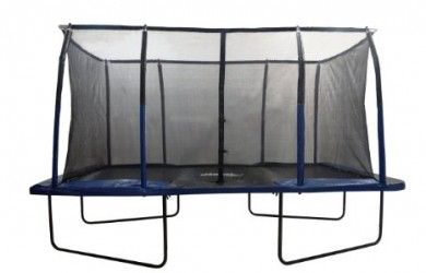 Upper Bounce Easy Assemble Spacious Rectangular Trampoline with Fiber Flex Enclosure Feature Overview
